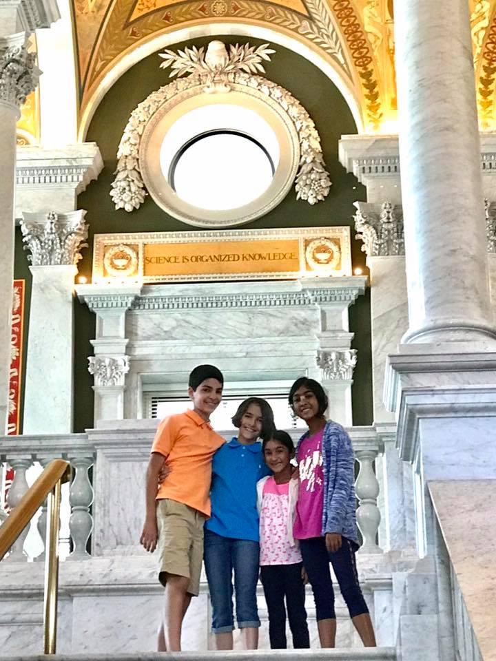 Family poses in Washington D.C.
